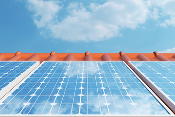 3D illustration solar panels on a red roof reflecting the cloudless blue sky. Energy and electricity. Alternative energy, eco or green generators. Power, ecology, technology, electricity.