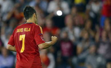 Spain's David Villa celebrates after scoring against Saudi Arabia during their international friendly soccer match in Pontevedra