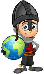 Boy Black Knight Cartoon Character