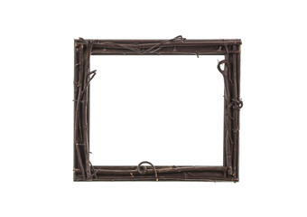 Old, rustic, decorative, wooden frame made of twigs
