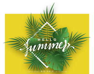 Hello Summer banner tropical background. Summer season, design poster with green leaves