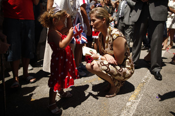 Sophie Rhys-Jones, Countess of Wessex, talks to a girl in Gibraltar