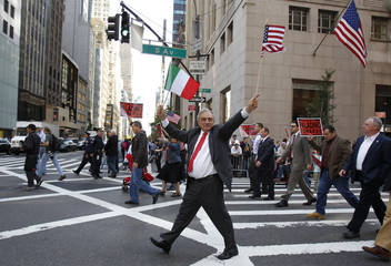 New York Republican gubernatorial candidate Paladino marches in the Columbus day parade in New York City