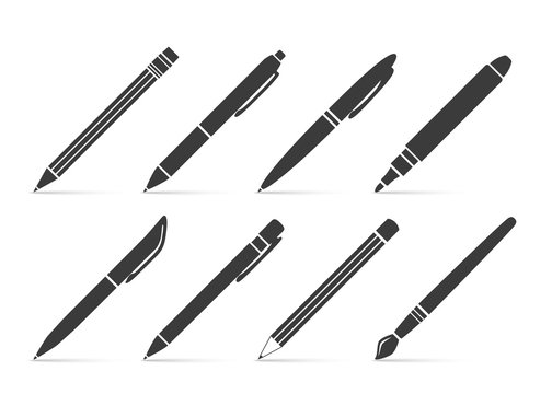 Collection of vector icons for writing and artistic tools: pen, pencil, marker, paintbrush