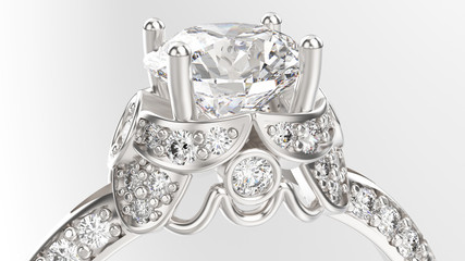 3D illustration zoom macro gold silver ring with diamonds