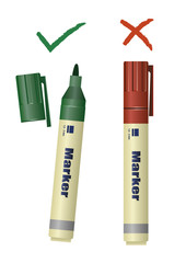 A green and a red marker with check and uncheck marks. Vector Illustration