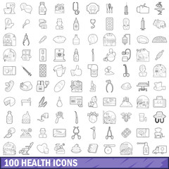 100 health icons set, outline style