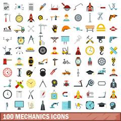 100 mechanics icons set, flat style