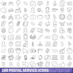 100 postal service icons set, outline style