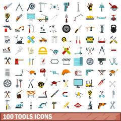 100 tools icons set, flat style