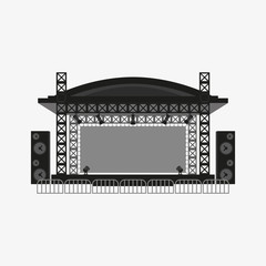 Outdoor concert stage vector illustration.