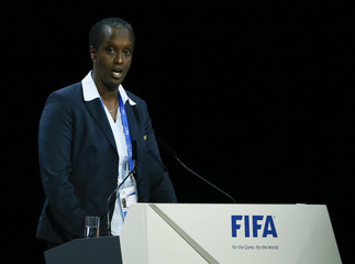 Nsekera, member of FIFA Executive Committee and chairwoman for women's football addresses the 65th FIFA Congress in Zurich