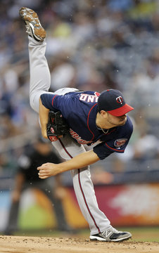 Minnesota Twins' Diamond pitches to New York Yankees during their MLB American League baseball game in New York