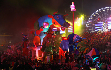 """A float entitled """"Bull of Picasso"""" is paraded during the Nice Carnival in Nice"""