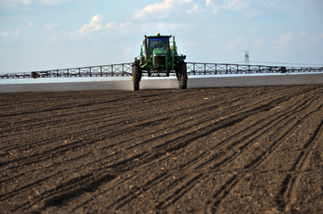 On the self-propelled sprayer works with GPS navigation that makes herbicides