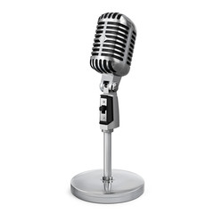 Vintage classic silver microphone with tabletop stand.Realistic 3D rendering.Isolated on white background.Half side view.