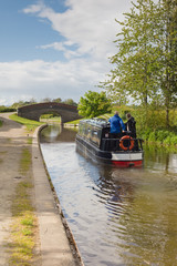 Canal narrowboat navigating the Shropshire Union Canal in England