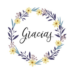 Gracias. Thank you in spanish calligraphy greeting card. Vector illustration
