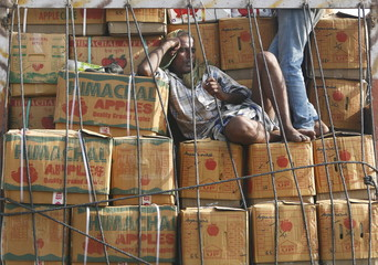A labourer takes nap on boxes filled with apples loaded in a supply vehicle at a marketplace on a hot day in New Delhi