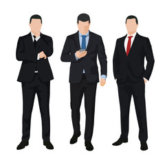 Group of three business men, isolated vector illustrations. Set of people in dark suits