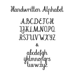 Calligraphy alphabet. Lowercase, uppercase. Vector handwritten letters. Ink illustration.