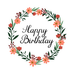 Happy Birthday Hand Lettering Greeting Card. Vector Calligraphy. Floral Wreath