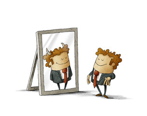 Businessman has been reflected as a devil in a mirror. isolated, white background