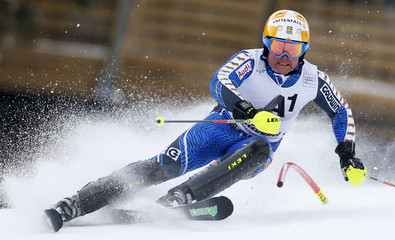 Hargin of Sweden skis during the first run of the men's Slalom event at the Alpine Skiing World Cup downhill ski race in Kitzbuehel