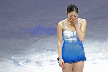 Nagasu prepares to skate during an exhibition event at the conclusion of the U.S. Figure Skating Championships in Boston