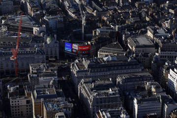 An aerial view shows Piccadilly Circus in London