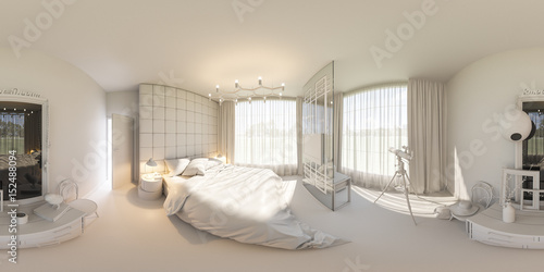3d illustration spherical 360 degrees seamless panorama - Interior design without a degree ...