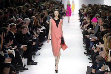 A model presents a creation by Belgian designer Raf Simons as part of his Fall/Winter 2014-2015 women's ready-to-wear collection show for fashion house Dior during Paris Fashion Week