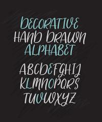 Modern calligraphy alphabet. Handwritten brush letters. Uppercase. Hand lettering font