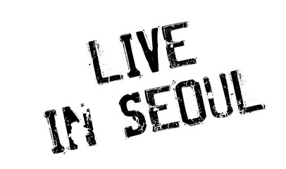 Live In Seoul rubber stamp. Grunge design with dust scratches. Effects can be easily removed for a clean, crisp look. Color is easily changed.
