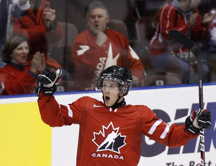 Team Canada forward Jaden Schwartz celebrates his goal against Team Switzerland during the first period of their IIHF World Junior Championships pre-competition game in Oshawa