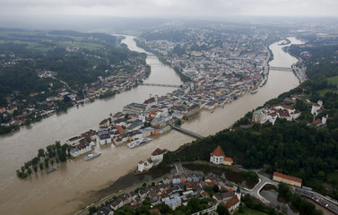 An aerial image shows the three-rivers city of Passau in south-eastern Bavaria