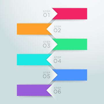 Infographic Vector Arrow Point Steps 1 to 6 Template B