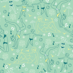 Vector Mint Green People On The Beach Repeat Seamless Pattern Background. Can Be Used For Fabric, Wallpaper, Stationery, Packaging, beach towels, beach totes.