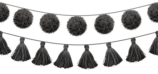 Vector Balck and White Tribal Pom Poms and Tassels Set On A String Horizontal Seamless Repeat Border Pattern. Great for handmade cards, invitations, wallpaper, packaging, home decor designs.