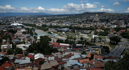 A general view shows the city of Tbilisi