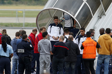 France's national soccer team player Giroud arrives at Le Bourget airport near Paris