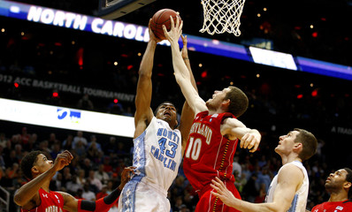North Carolina Tar Heels forward James Michael McAdoo works to shoot against Maryland Terrapins center Berend Weijs during a college basketball game in Atlanta