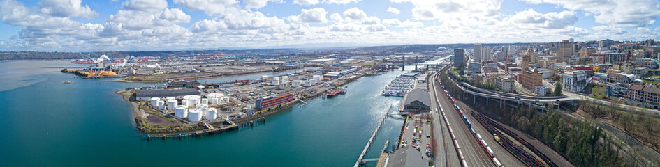 Tacoma, Washington City Foss Waterfront Panoramic View Sunny Weather