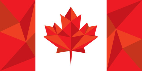 Low Poly Style Canadian Flag