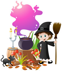 Witch and magic brew in pot
