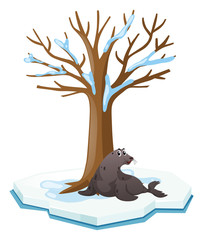 Seal sitting under the tree
