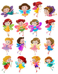 Many cute fairies with colorful wings