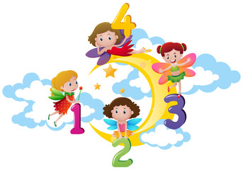 Four fairies counting numbers on the moon