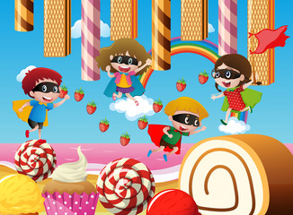 Children playing in candy land