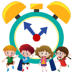 Happy kids and big alarm clock